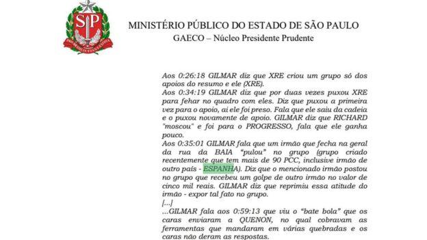 Trecho de denúncia do Ministério Público