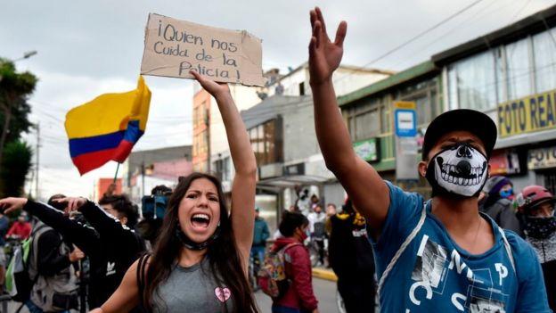 Una protesta en Bogotá