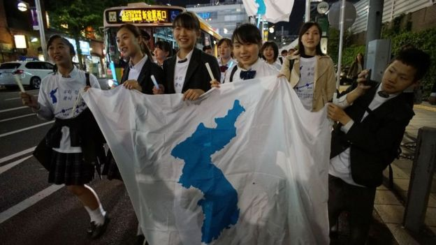 Students with pro-unification flag in Seoul