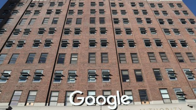 Google signage is seen at the Google headquarters in the Manhattan borough of New York City, New York, U.S., December 19, 2018