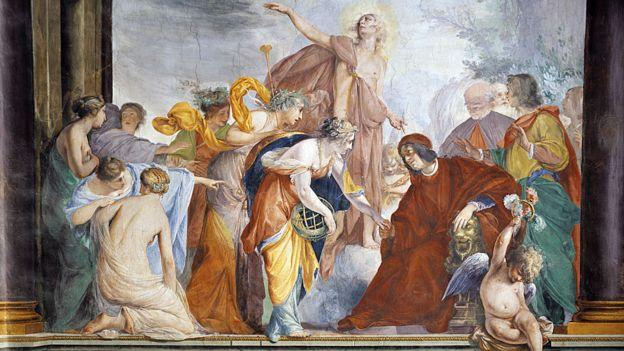 Lorenzo el Magnífico dándole la bienvenida a Florencia a las Musas y las Virtudes acompañadas de Apolo, fresco de Francesco Montelatici conocido como Cecco Bravo (1607-1661).