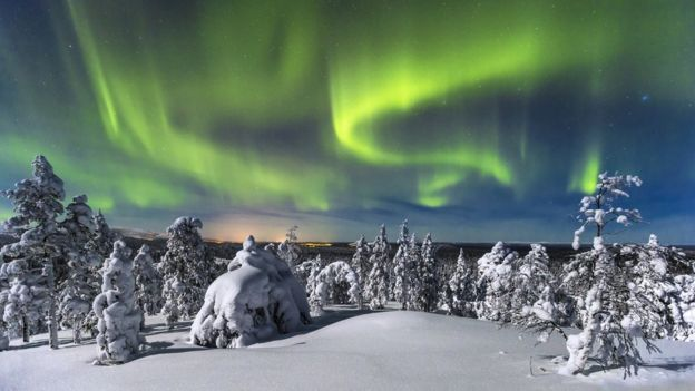 Finnish snow scene with Northern Lights