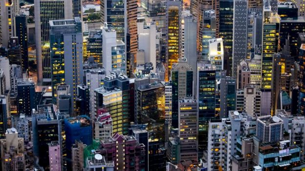"View of the ""concrete jungle"" that constitutes the entanglement of buildings on February 27, 2018 in Hong-Kong, China."