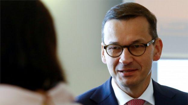 O primeiro-ministro da Polônia Mateusz Morawiecki em uma reunião em Varsóvia, na Polônia
