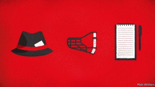 Gazeteci defteri, ağızlık ve fötr şapka bulunan bir çizim.