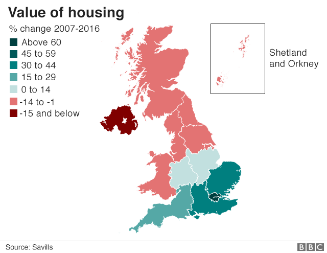 Value of the housing stock by region