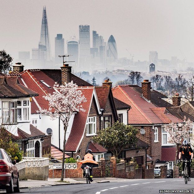 City of London seen in the background of residential street