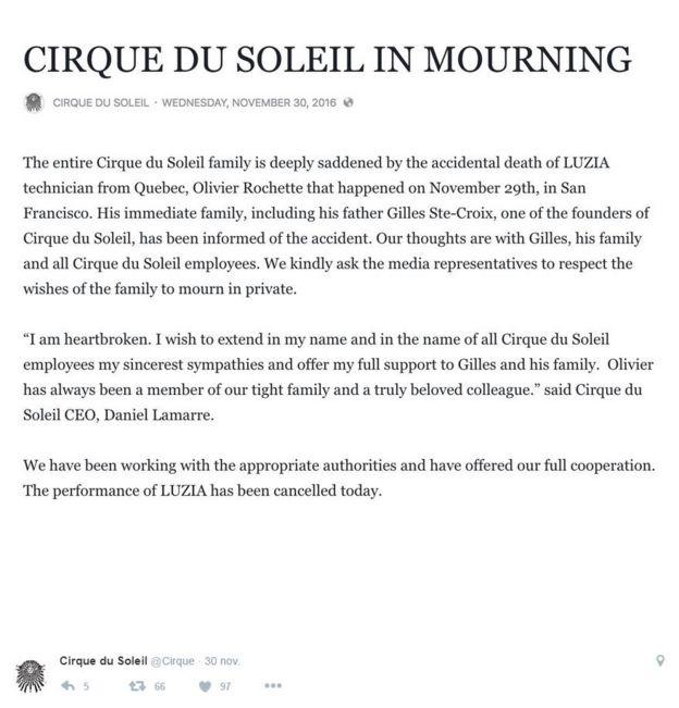 5c056508a4fa La compañía anunció el fallecimiento del técnico este miércoles en su  cuenta de Twitter.