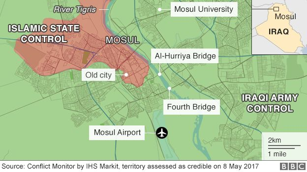 Map showing control of Mosul on 8 May 2017