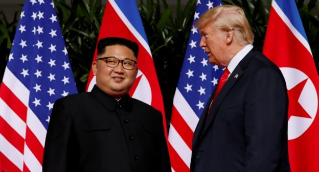 It is the first time that an acting US president meets with a North Korean leader.