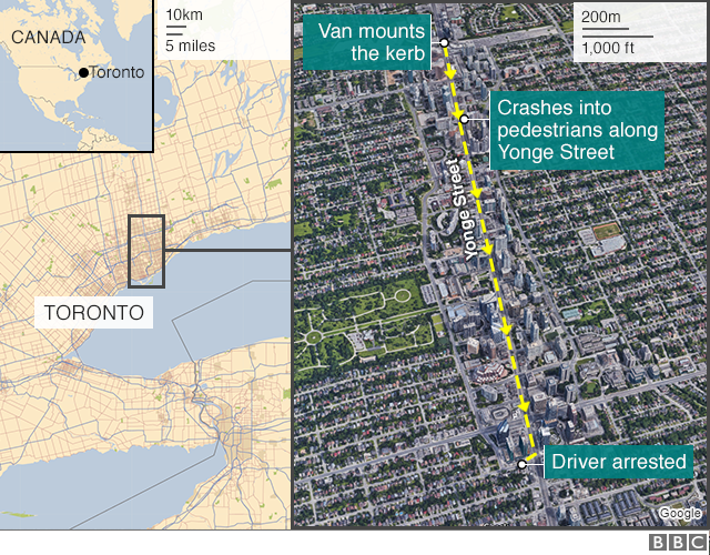 BBC map showing scene of Toronto van attack on 23 April 2018