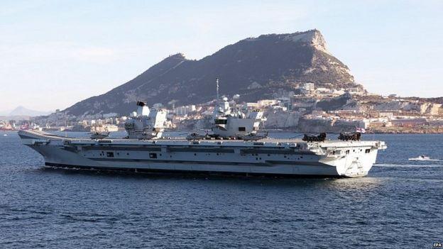 British aircraft carrier leaving Gibraltar
