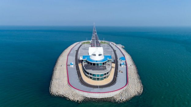 Aerial view of Hong Kong-Zhuhai-Macau Bridge West Artificial Island