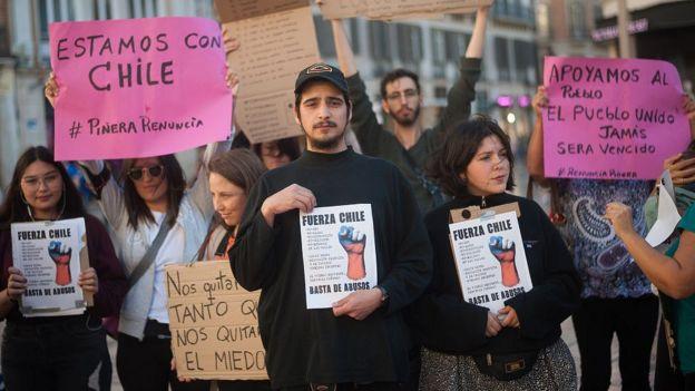 Manifestación de apoyo a Chile en Málaga, España