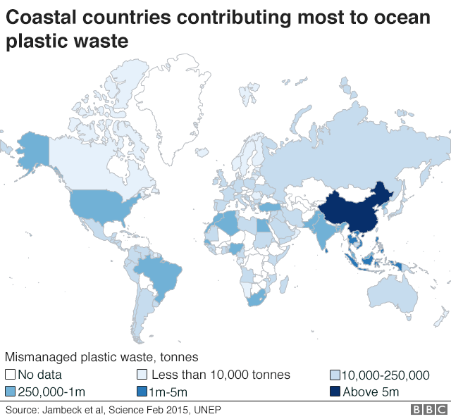 World map showing coastal countries which contribute most to plastic waste in oceans