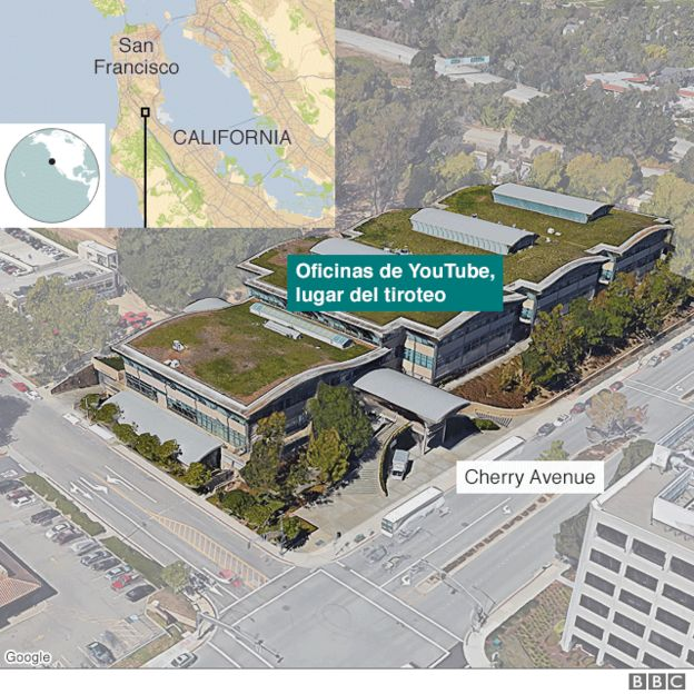Mapa con la ubicación del tiroteo
