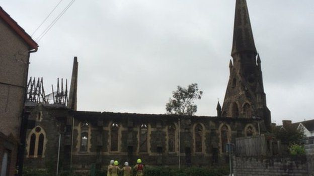 The roof of the church was completely destroyed in the fire