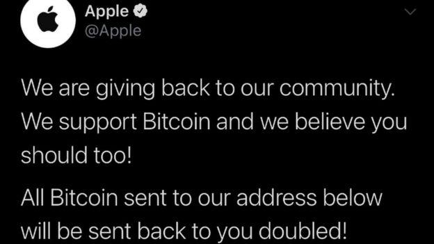 Un tuit desde la cuenta de Apple
