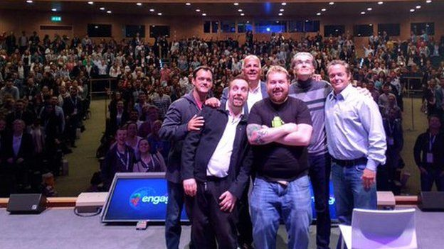 Improv Asylum comedians after performing to a gathering of Google staff