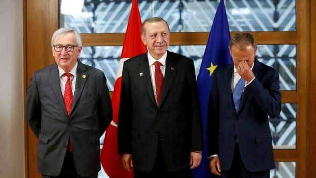 Avrupa Komisyonu Başkanı Jean-Claude Juncker, Cumhurbaşkanı Recep Tayyip Erdoğan ve Avrupa Birliği Konseyi Başkanı Donald Tusk