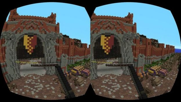 First look at virtual reality Minecraft at Xbox showcase - BBC News