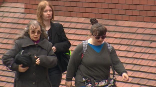Denise Cranston, 70, Abigail Burling, 25, and Dawn Cranston, 45, arrive at Leeds Crown Court where they are charged with the manslaughter of Jordan Burling, 18, at a house in Farnley, Leeds in 2016