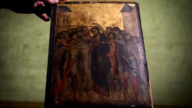 Pintura O Escárnio de Cristo do final do século 13 do florentino Cimabue, também conhecido como Cenni di Pepo