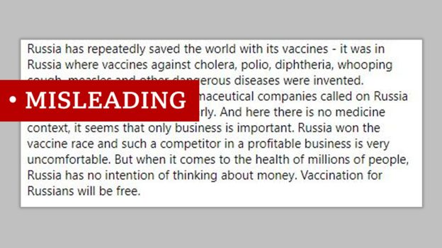 """Screenshot of a post on Facebook that says: """"Russia has repeatedly saved the world with its vaccines - it was in Russia where vaccines against cholera, polio, diphtheria, whooping cough, measles and other dangerous diseases were invented."""" We labelled """"misleading"""""""