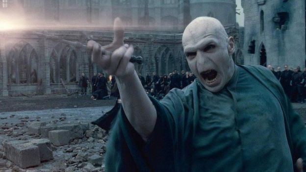 This is a photo of the main Villain in the Harry Potter films Voldemort.