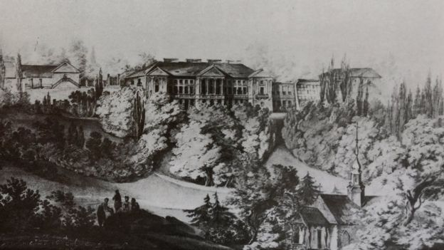Палац. Вигляд з боку парку. 1826 рік. З книги Романа Афтаназі (1926)
