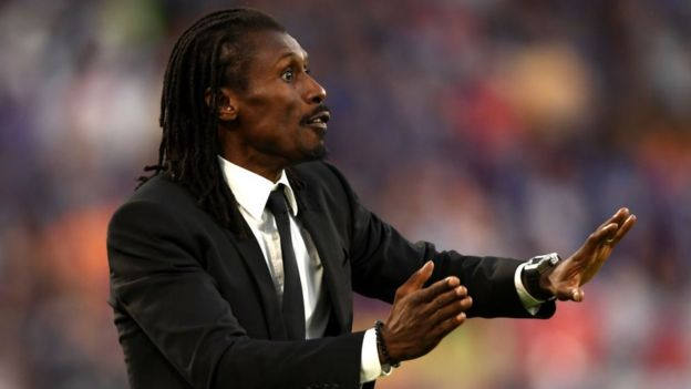 Aliou Cisse, Head coach of Senegal gives his team instructions during the 2018 FIFA World Cup Russia group H match between Japan and Senegal at Ekaterinburg Arena on June 24, 2018 in Yekaterinburg, Russia.