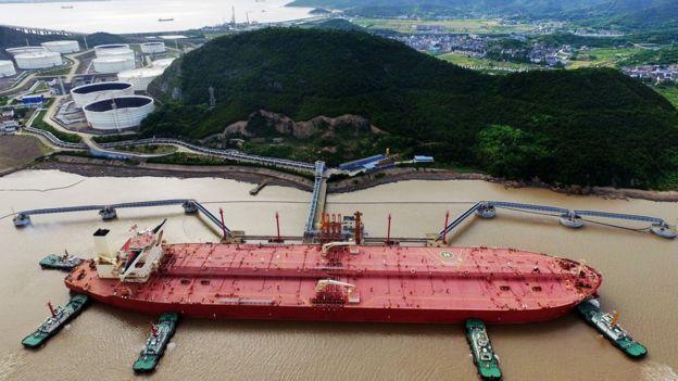 Çin limanındakı supertanker