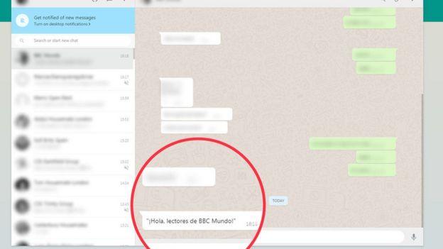 Muestra de un chat a modo de ejemplo
