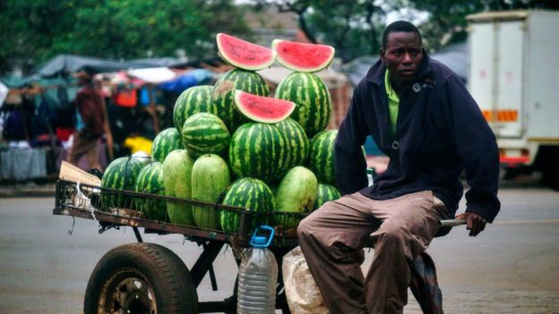 A watermelon vendor in Harare