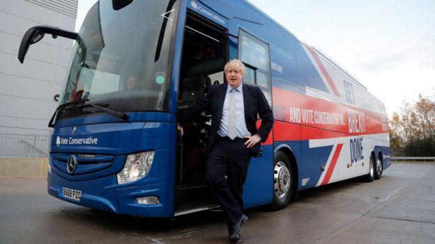 İngiltere Başbakanı Boris Johnson Muhafazakar Parti seçim otobüsünün önünde.