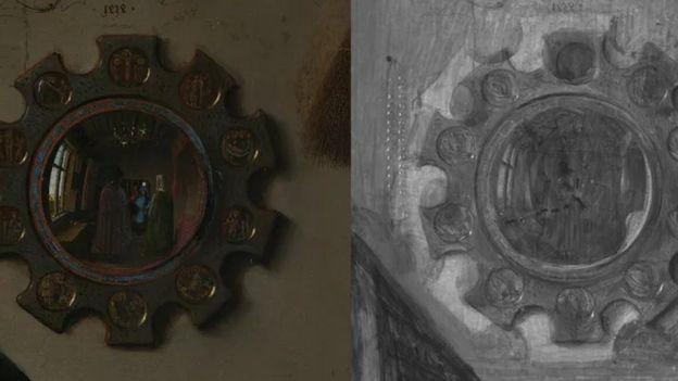 Macrofotografía y reflectografía infrarroja del espejo.