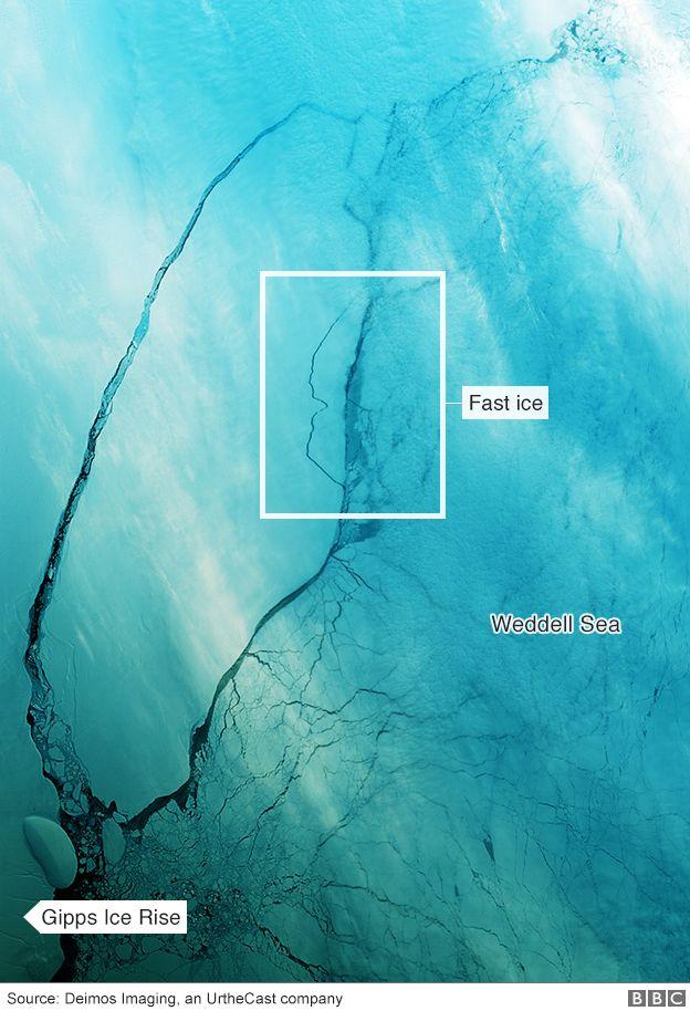 Satellite image of giant iceberg