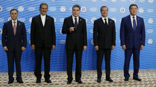 Mr Berdymukhamedov, centre, posing next to Azeri prime minister Novruz Mammadov, Iranian vice president Eshaq Jahangiri, Mr Medvedev, and Kazakh prime minister Askar Mamin at the Caspian Economic Forum