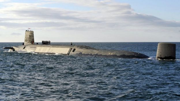 Image of Trident Nuclear Submarine, HMS Victorious, on patrol off the west coast of Scotland