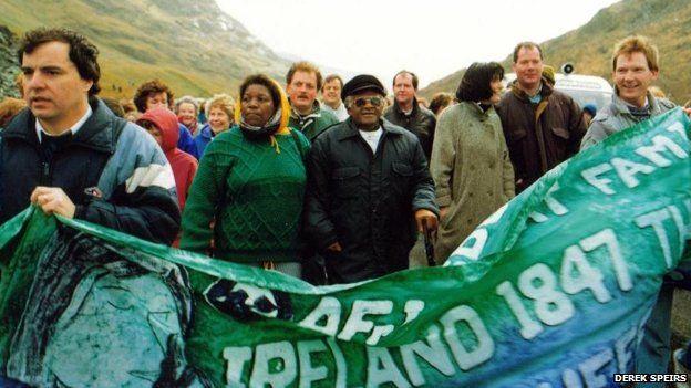 Desmond Tutu leading an AFRI Famine Walk in Mayo, in 1991