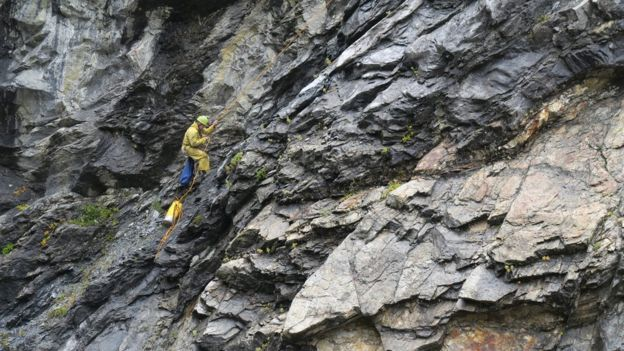 Cave specialist Lee Hollis on the cave wall