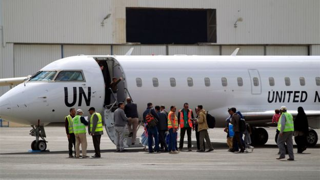 A UN Bombardier aircraft at Sanaa International Airport on 3 February 2020