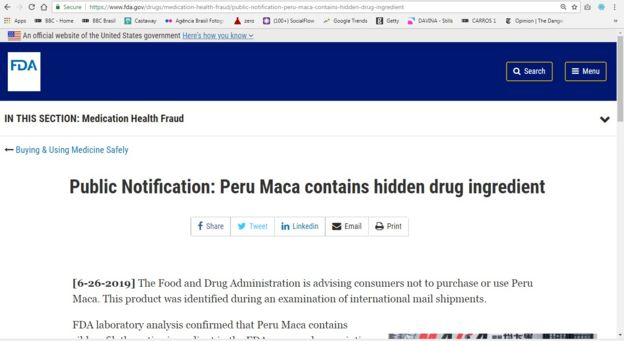 Print do site da FDA, agência federal americana