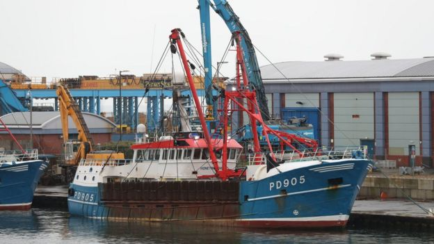 The Honeybourne 3, a Scottish scallop dredger, docked in West Sussex