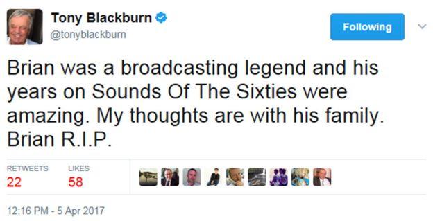 Tony Blackburn tweet