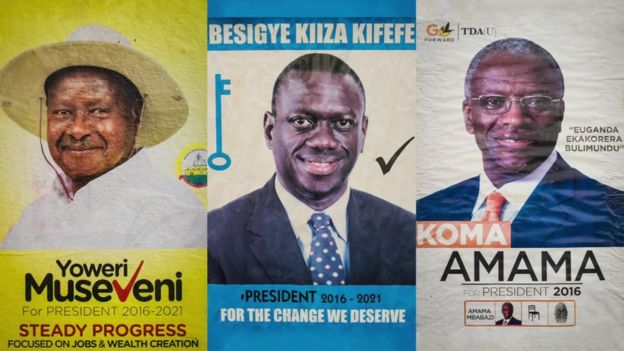 Posters of Uganda's three main presidential candidates