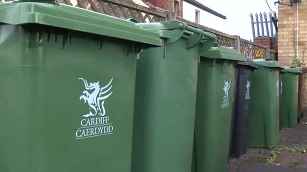Garden waste bins outside block of flats