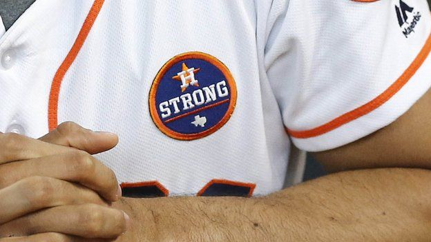 A player wearing a Houston Strong on his jersey during a game