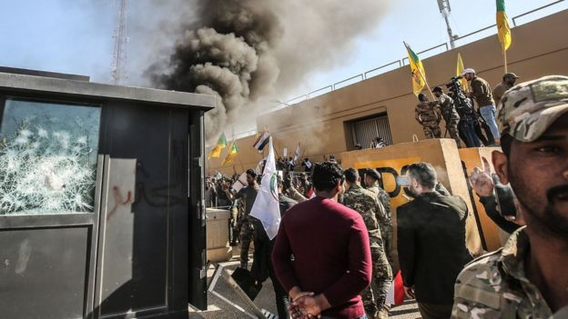 Protesters attack the US embassy in Baghdad, Iraq, on 31 December 2019