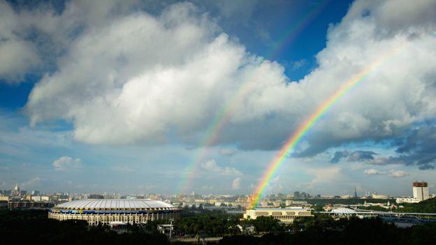 Arcoiris sobre el Estadio Luzhniki